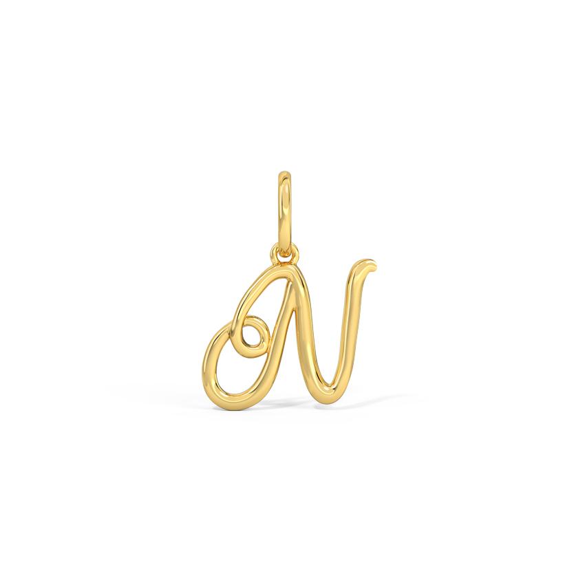 Alphabet N Cursive Charm