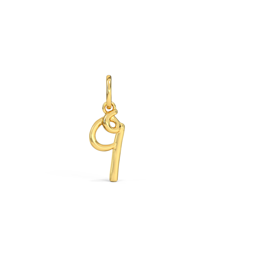 Gold Charms 14 Karat Yellow Gold Number 9 Gold Cursive Charm