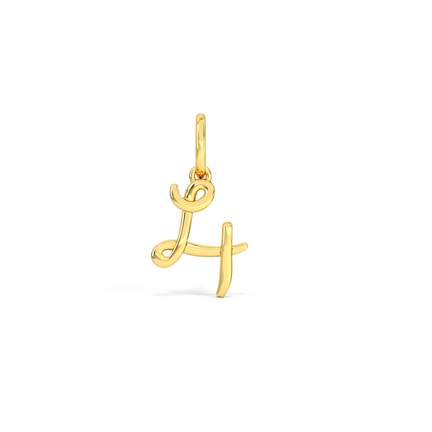 Gold Charms 14 Karat Yellow Gold Number 4 Gold Cursive Charm