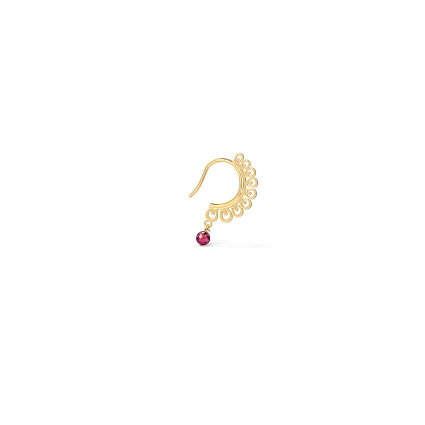 Gold,Gemstone Nath 14 Karat Yellow Gold Kiara Cutout Nose Pin