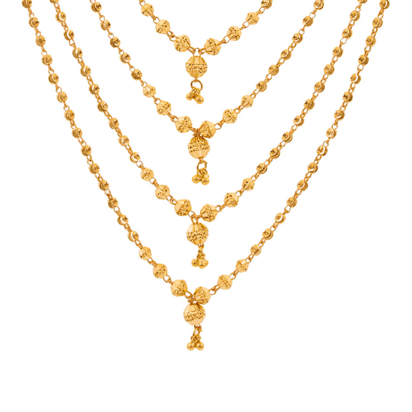 Barrel Bead Gold Necklace Jewellery India Online - CaratLane.com