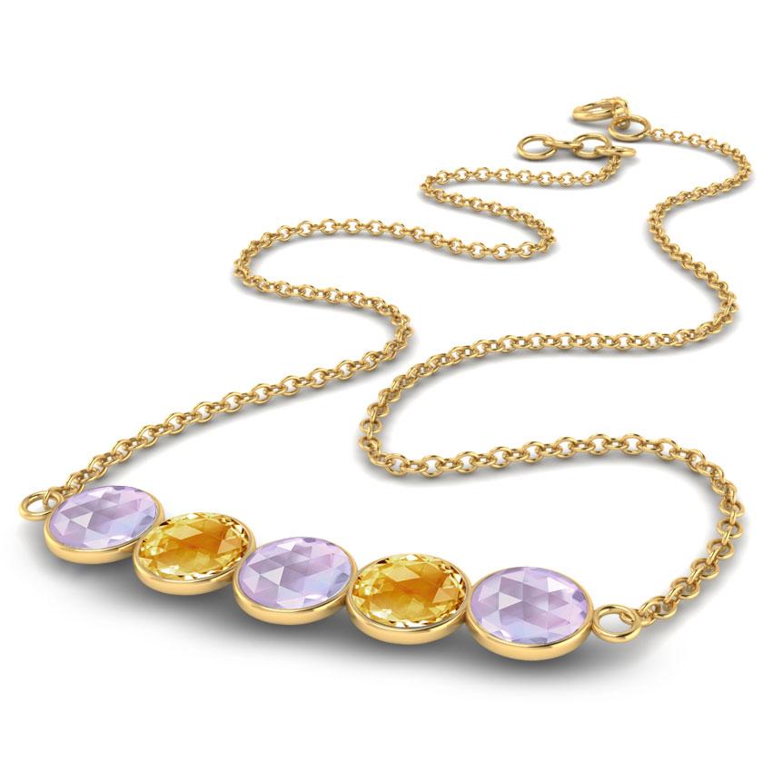 Gold Necklaces 18 Karat Yellow Gold Serie Gemstone Bar Gemstone Necklace