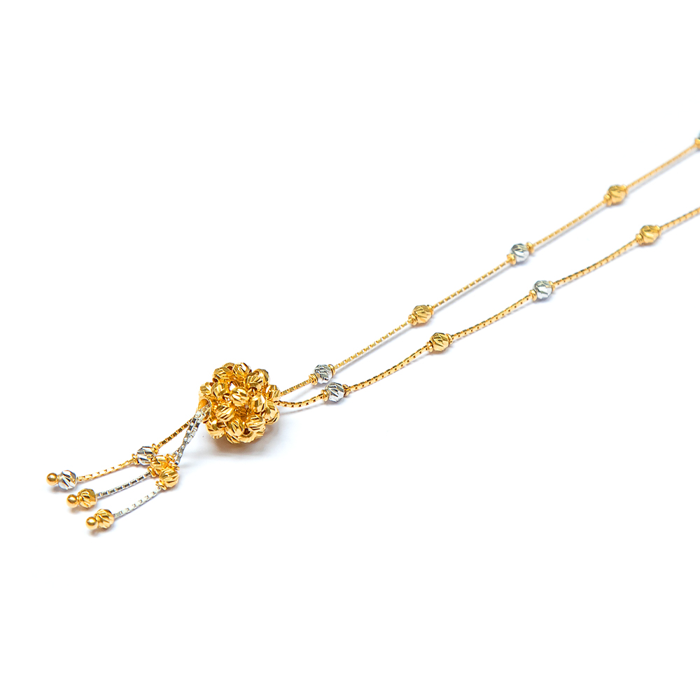 Bunched Bead Gold Necklace