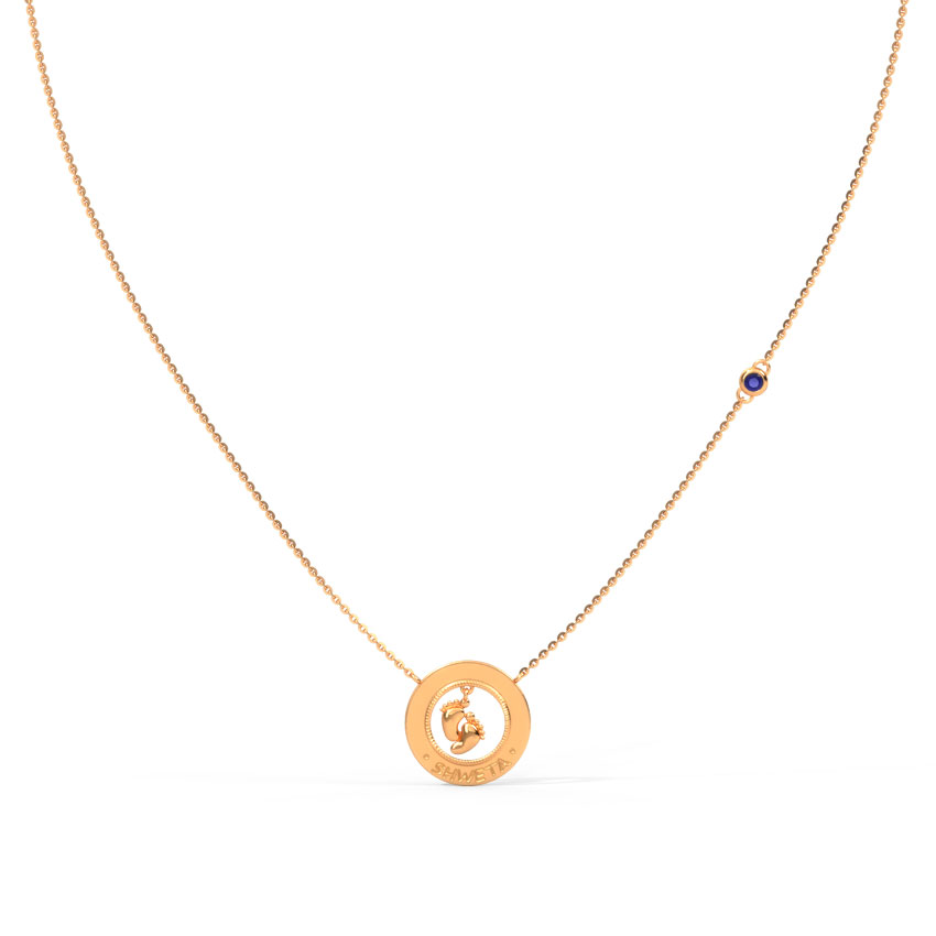 Gold,Gemstone Necklaces 14 Karat Rose Gold Baby Steps Personalised Gemstone Necklace