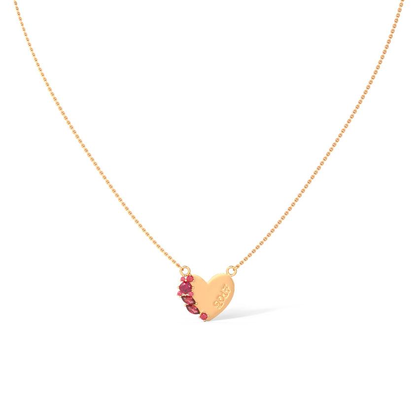 Gold,Gemstone Necklaces 14 Karat Rose Gold Heart Personalised Gemstone Necklace