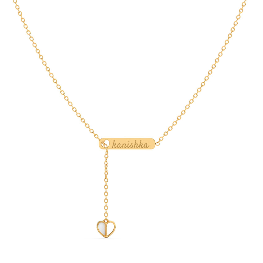 Gold Necklaces 14 Karat Yellow Gold Forever Love Personalised Gold Necklace