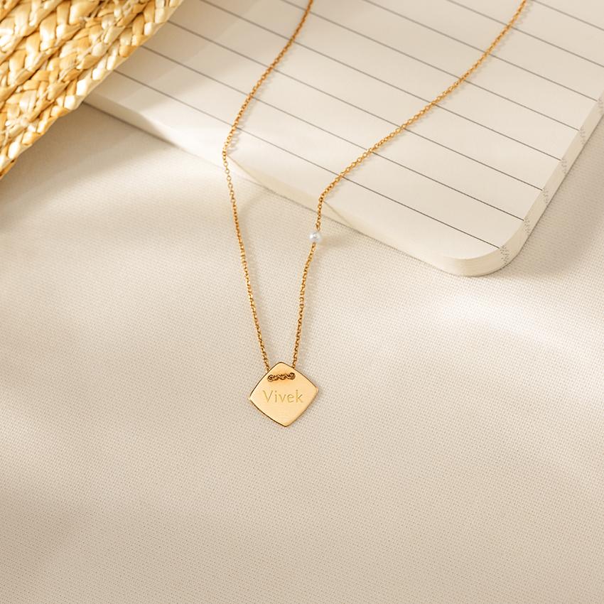 Gold,Gemstone Necklaces 14 Karat Yellow Gold Minimalist Personalised Gemstone Necklace
