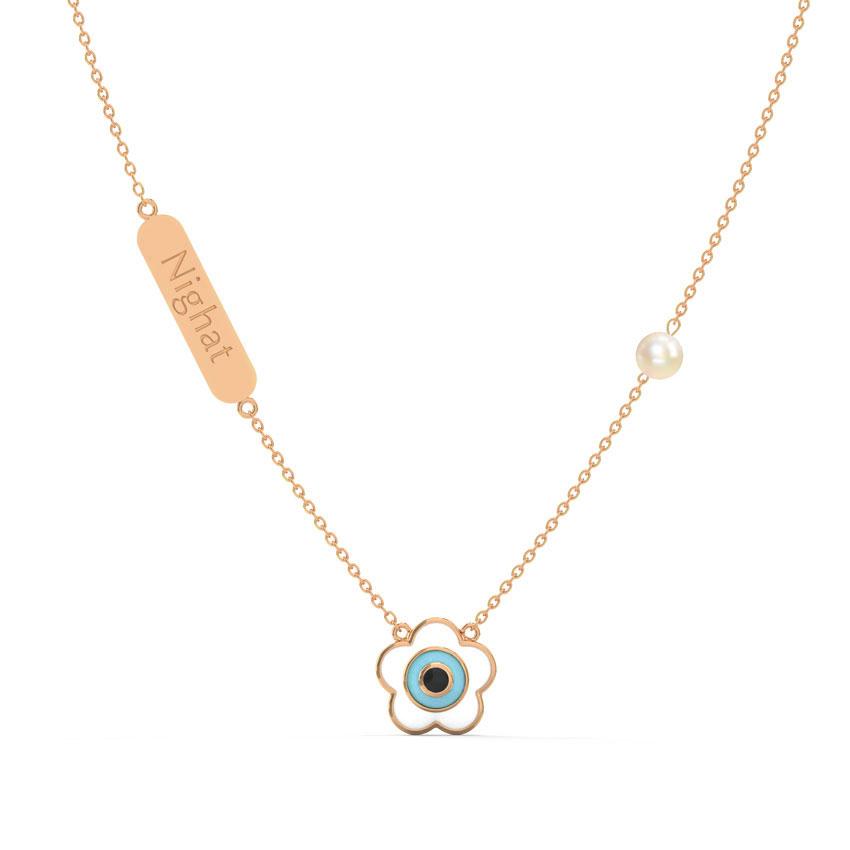Gold,Gemstone Necklaces 14 Karat Rose Gold Evil Eye Personalised Gemstone Necklace