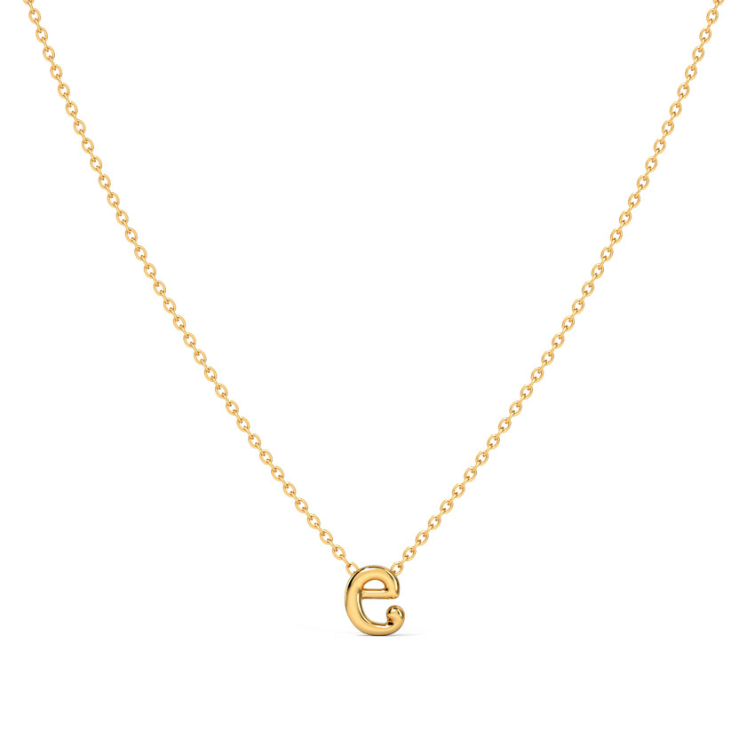 Gold Necklaces 14 Karat Yellow Gold Classic Alphabet E Gold Necklace