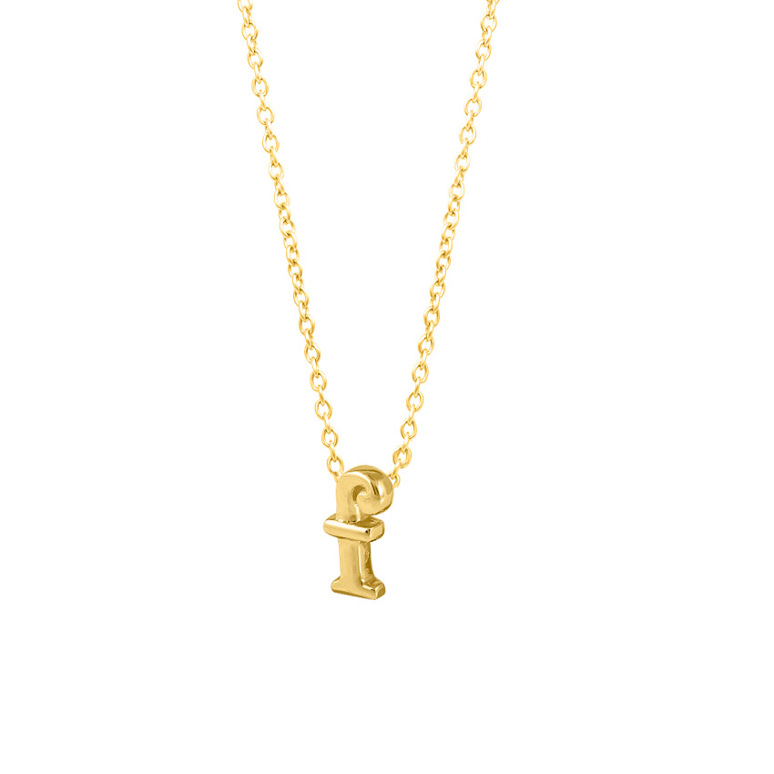 Gold Necklaces 14 Karat Yellow Gold Classic Alphabet F Gold Necklace