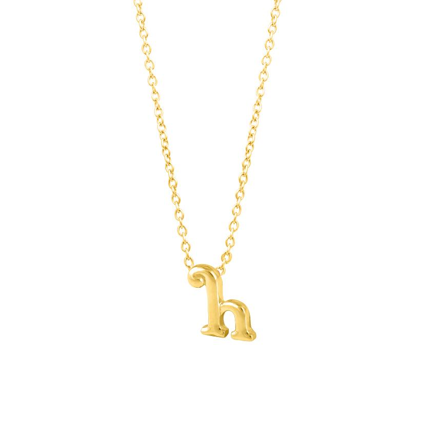 Gold Necklaces 14 Karat Yellow Gold Classic Alphabet H Gold Necklace
