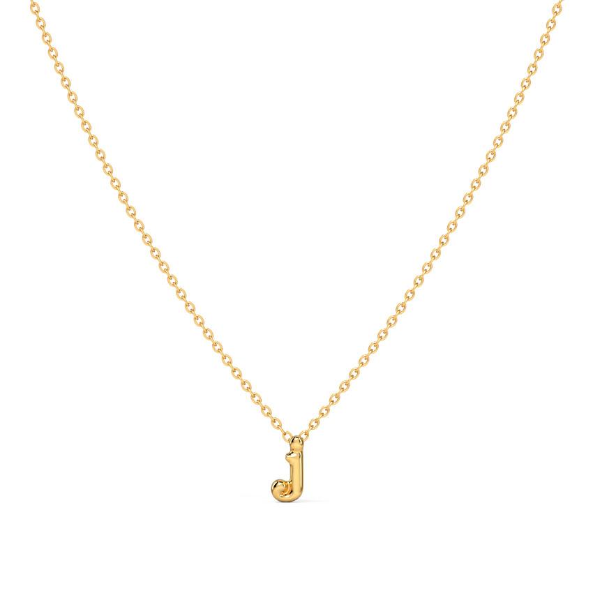 Gold Necklaces 14 Karat Yellow Gold Classic Alphabet J Gold Necklace