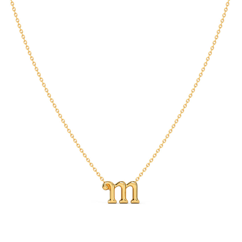 Gold Necklaces 14 Karat Yellow Gold Classic Alphabet M Gold Necklace