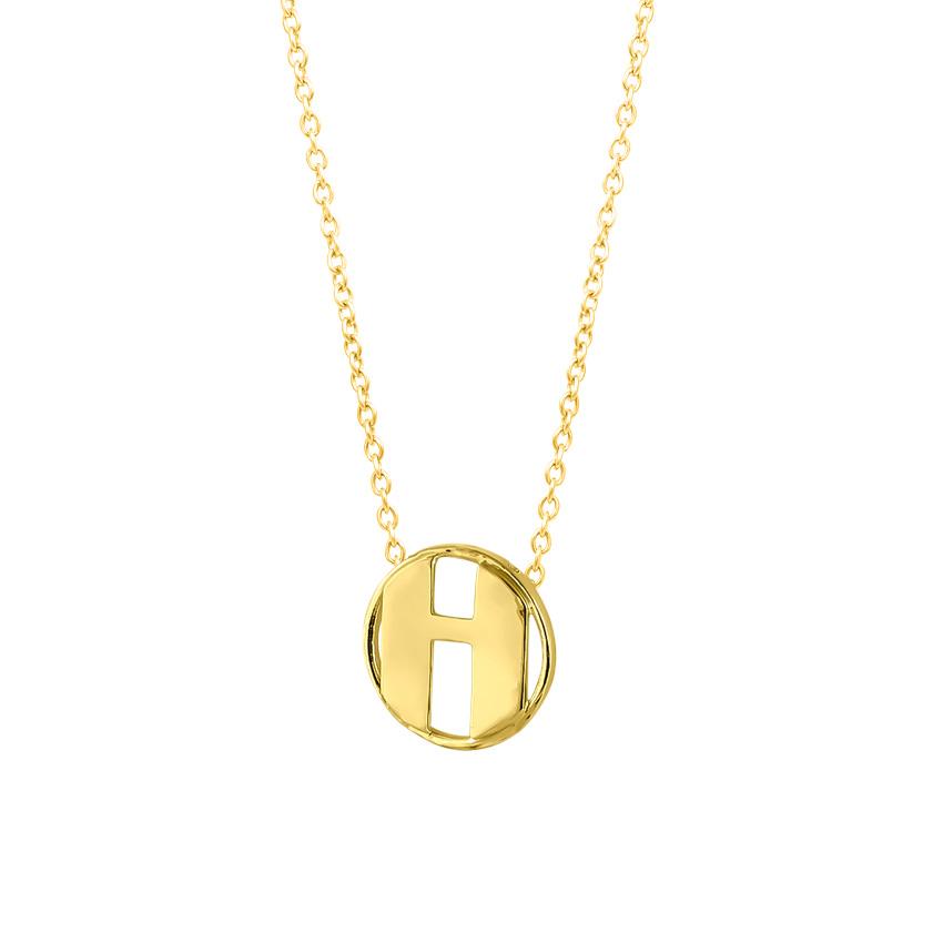 Gold Necklaces 14 Karat Yellow Gold Artsy Alphabet H Gold Necklace