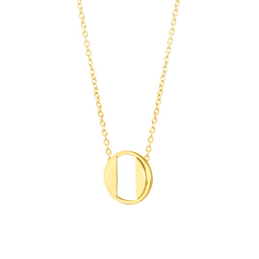 Gold Necklaces 14 Karat Yellow Gold Artsy Alphabet O Gold Necklace