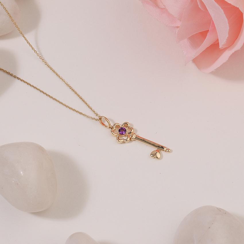 Amethyst Floret Key Necklace
