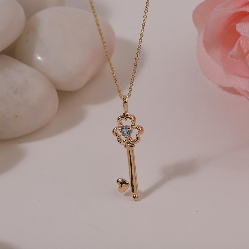 Gold,Gemstone Necklaces 14 Karat Yellow Gold Aqua Floret Gemstone Key Necklace