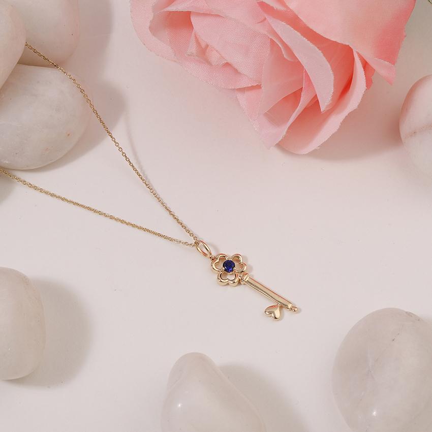 Gold,Gemstone Necklaces 14 Karat Yellow Gold Azure Floret Gemstone Key Necklace