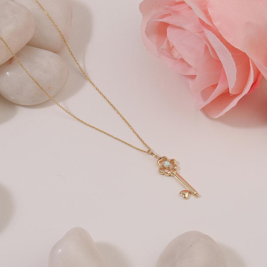 Opal Floret Key Necklace