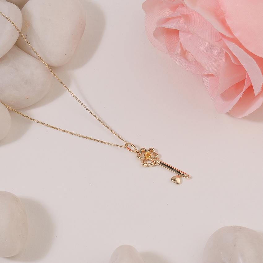 Citrine Floret Key Necklace