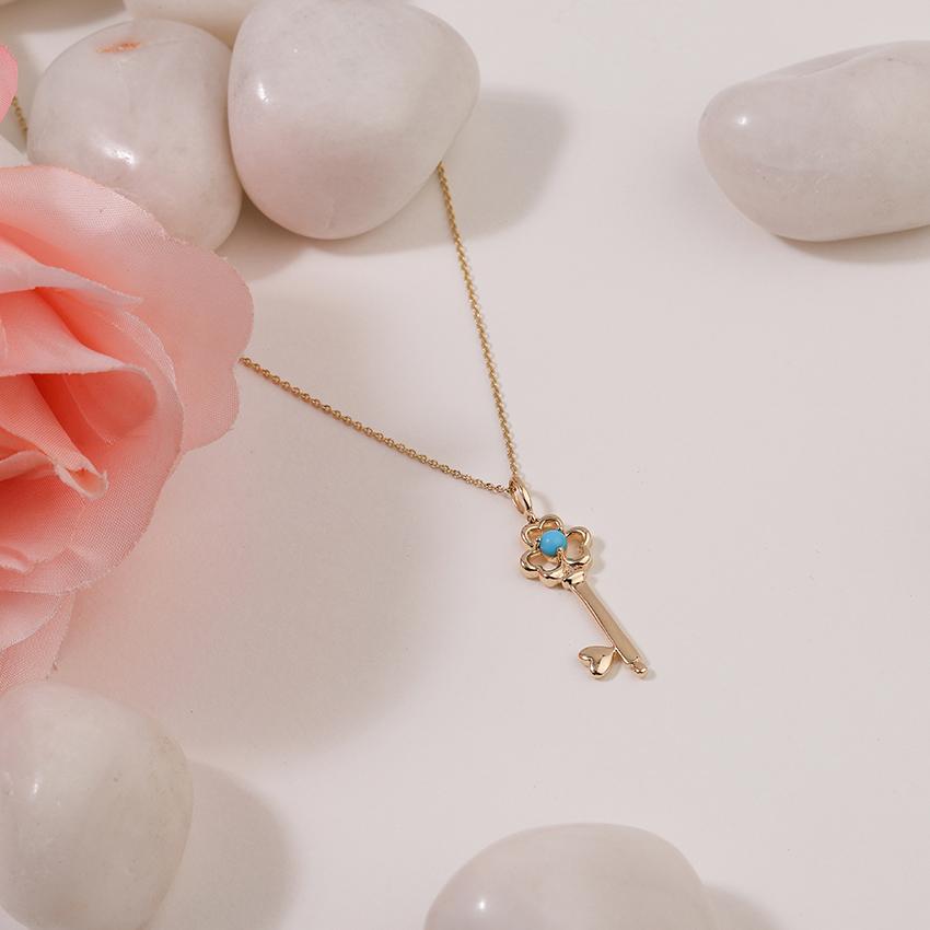 Gold,Gemstone Necklaces 14 Karat Yellow Gold Turquoise Floret Gemstone Key Necklace