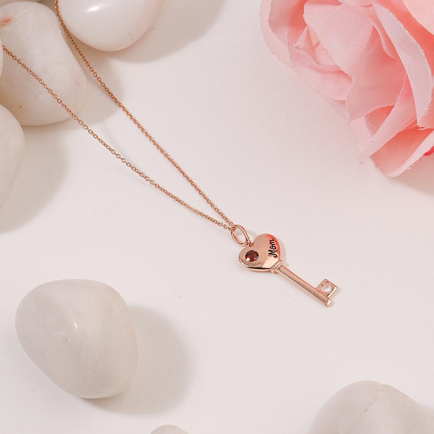 Gold,Gemstone Necklaces 14 Karat Rose Gold Garnet Amore Gemstone Key Necklace