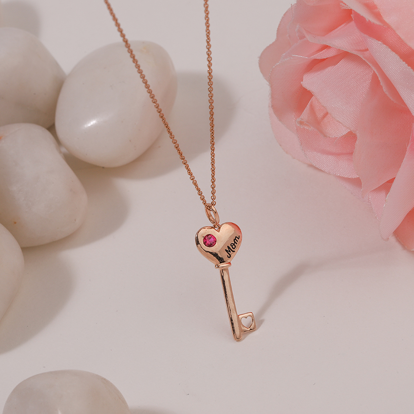 Gold,Gemstone Necklaces 14 Karat Rose Gold Scarlet Amore Gemstone Key Necklace