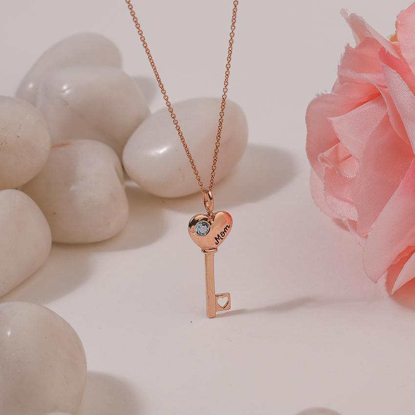 Gold,Gemstone Necklaces 14 Karat Rose Gold Aqua Amore Gemstone Key Necklace