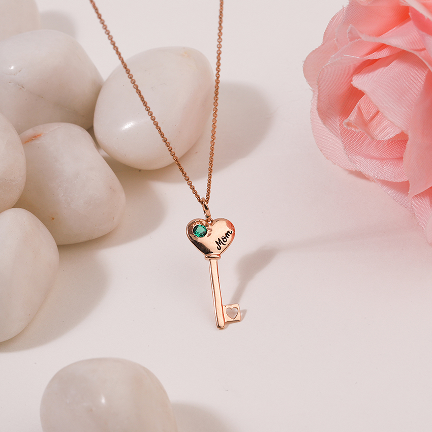Gold,Gemstone Necklaces 14 Karat Rose Gold Verdant Amore Gemstone Key Necklace