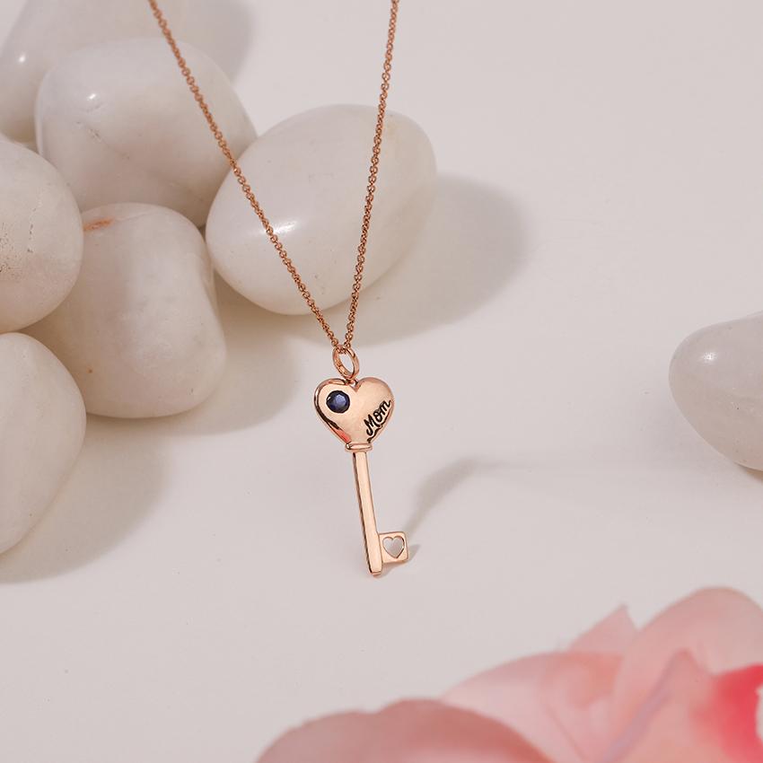 Gold,Gemstone Necklaces 14 Karat Rose Gold Azure Amore Gemstone Key Necklace