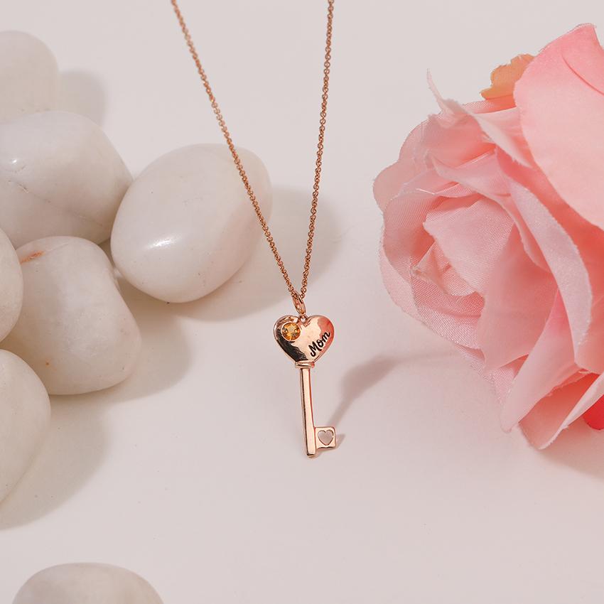 Gold,Gemstone Necklaces 14 Karat Rose Gold Citrine Amore Gemstone Key Necklace