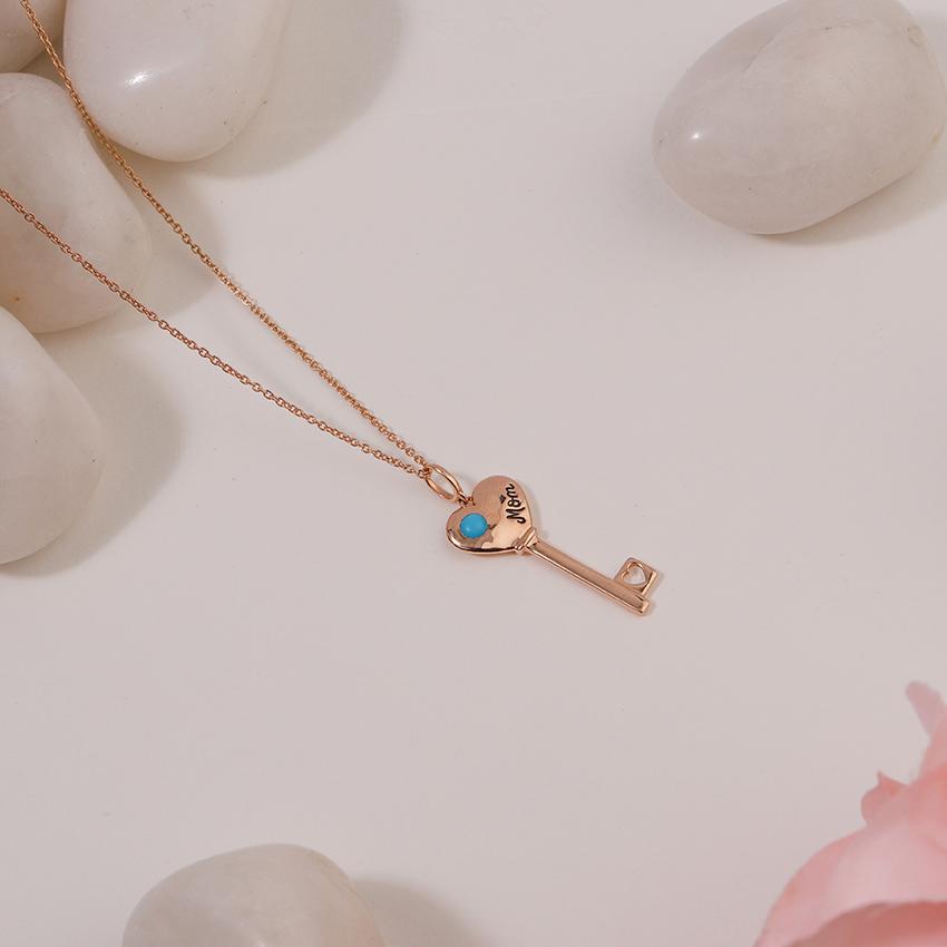 Turquoise Amore Key Necklace