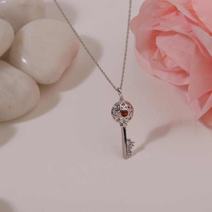 Garnet Ornate Key Necklace