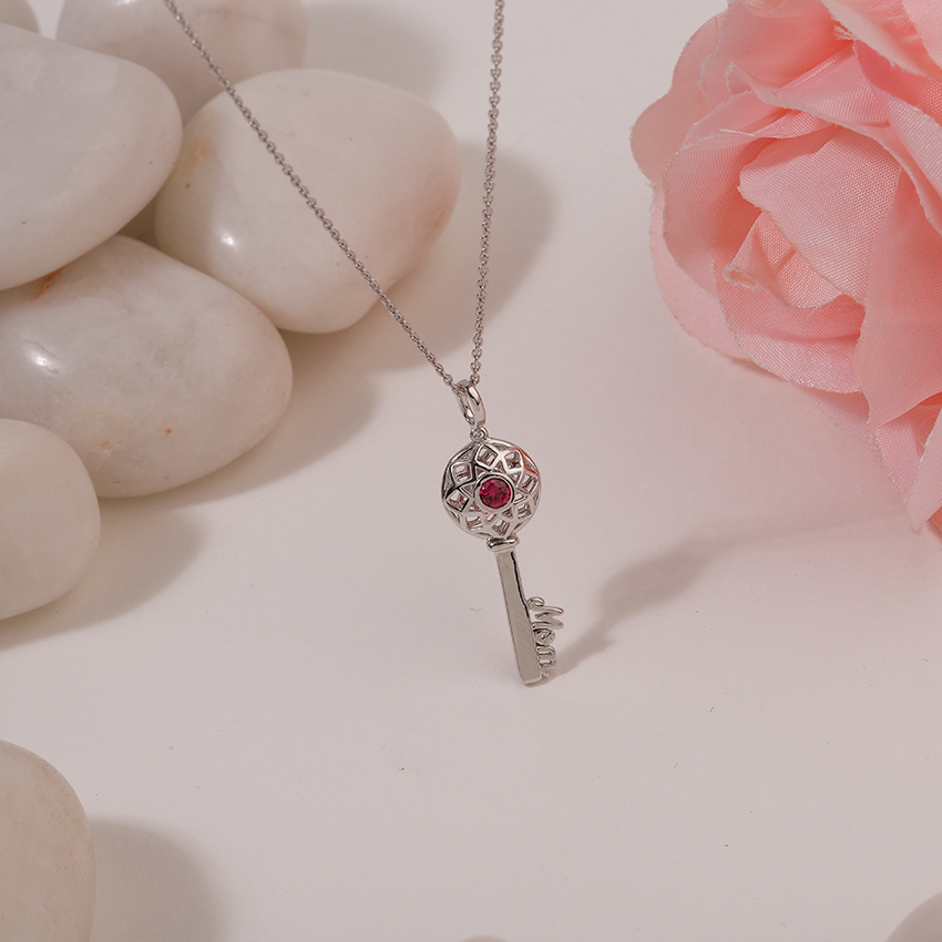Gold,Gemstone Necklaces 14 Karat White Gold Scarlet Ornate Gemstone Key Necklace