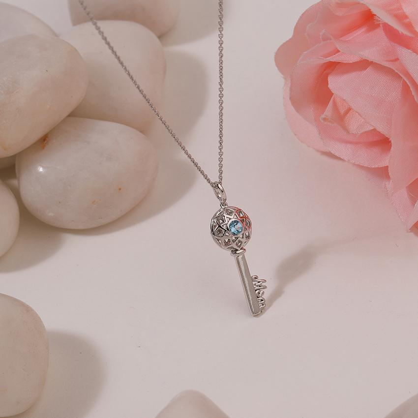 Gold,Gemstone Necklaces 14 Karat White Gold Aqua Ornate Gemstone Key Necklace