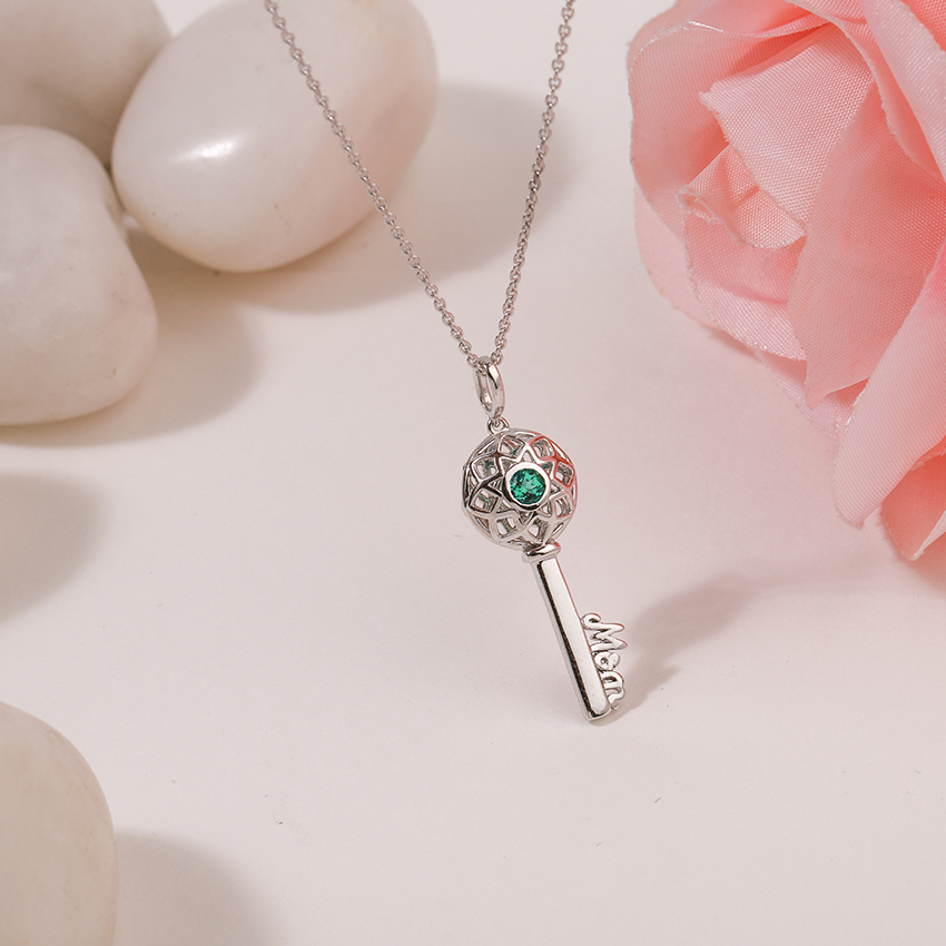 Gold,Gemstone Necklaces 14 Karat White Gold Verdant Ornate Gemstone Key Necklace