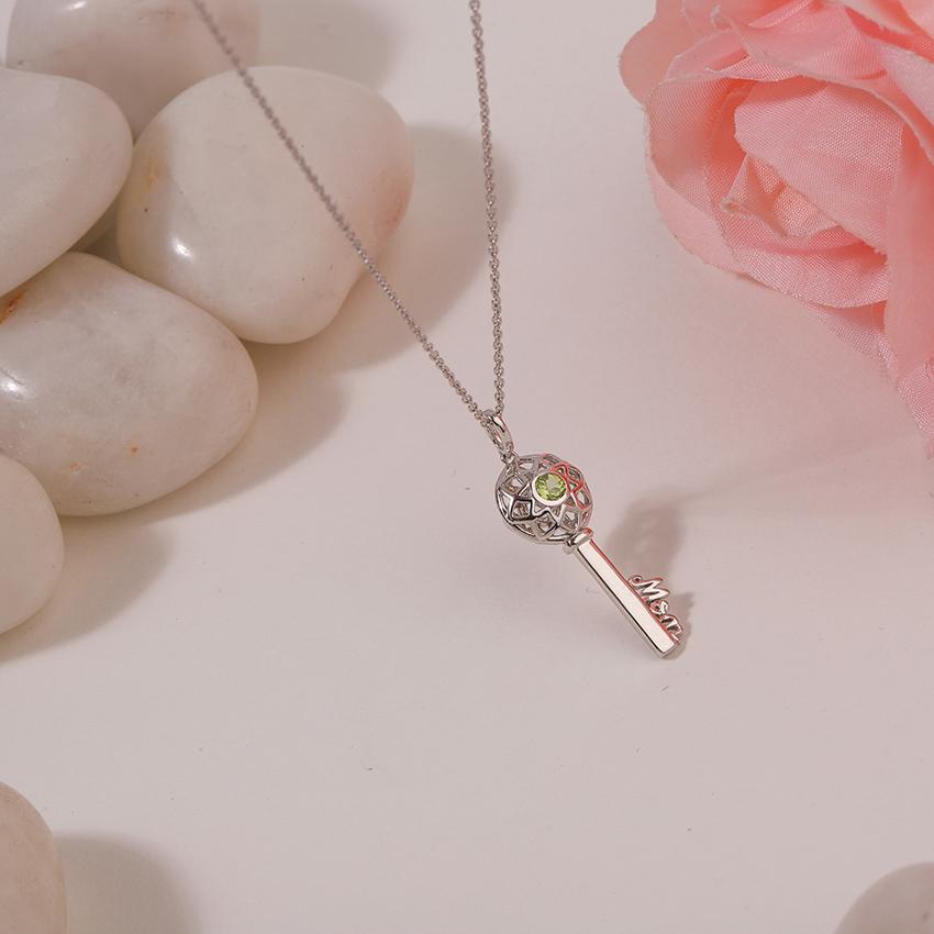 Gold,Gemstone Necklaces 14 Karat White Gold Peridot Ornate Gemstone Key Necklace