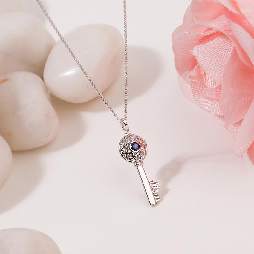 Gold,Gemstone Necklaces 14 Karat White Gold Azure Ornate Gemstone Key Necklace