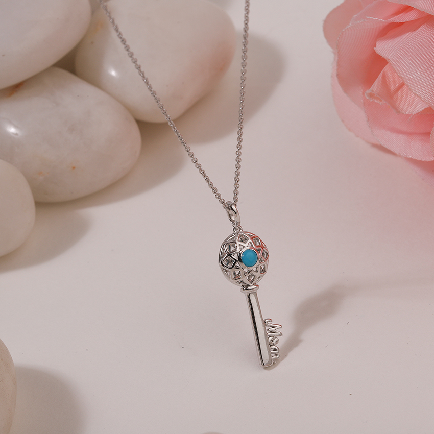 Gold,Gemstone Necklaces 14 Karat White Gold Turquoise Ornate Gemstone Key Necklace