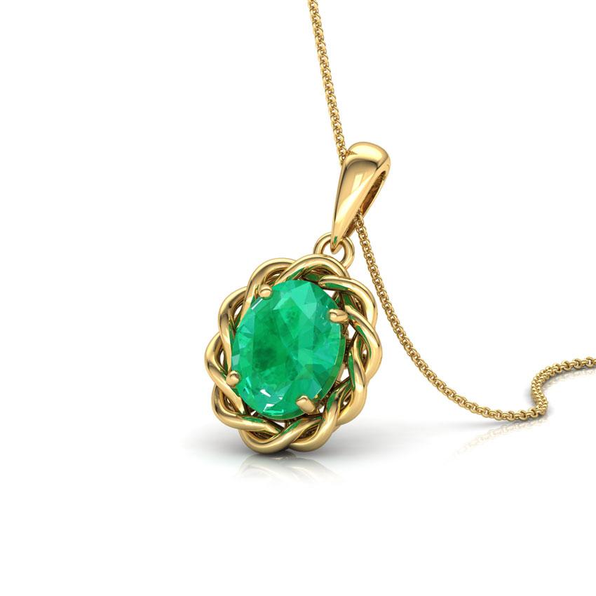 Wavy Emerald Birthstone Pendant