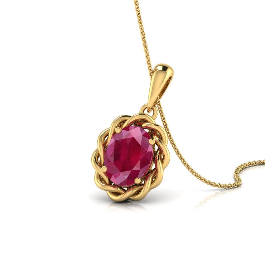 Wavy Ruby Birthstone Pendant