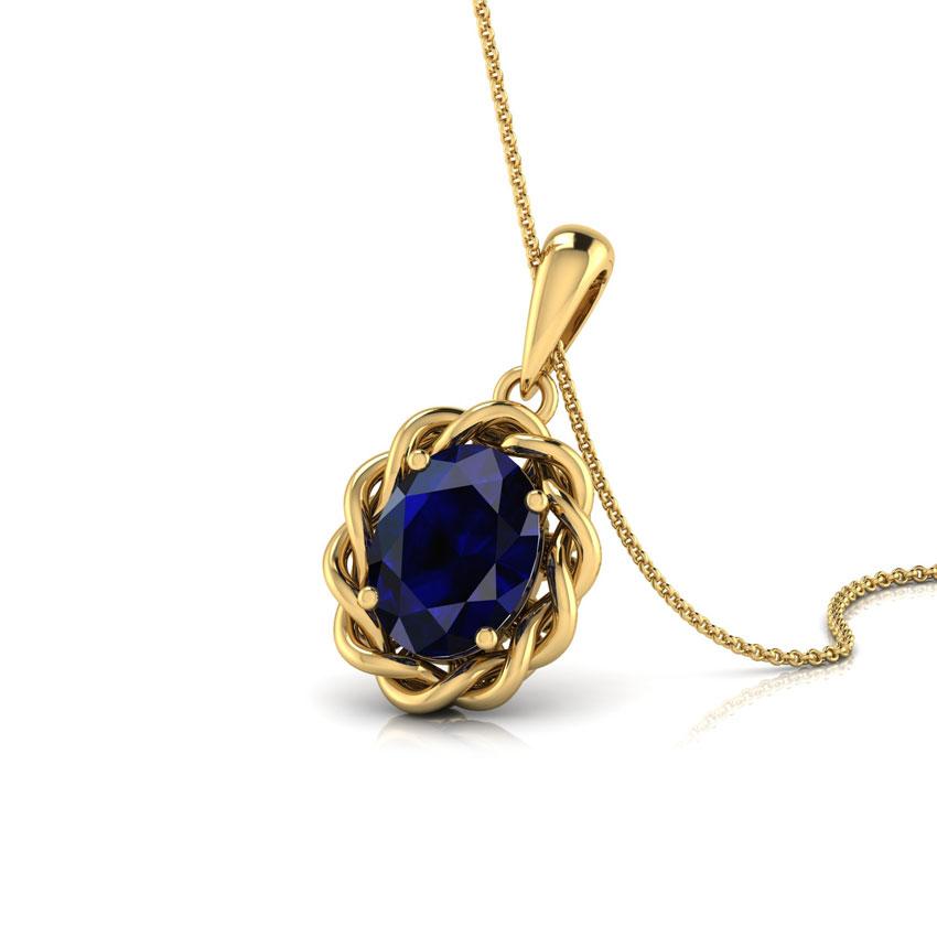 Wavy Blue Sapphire Birthstone Pendant
