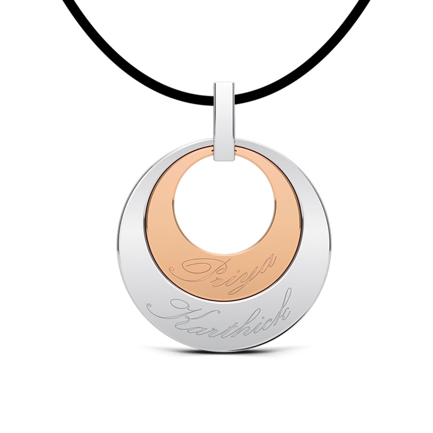 Couple Name Pendant  18K White & Rose Gold