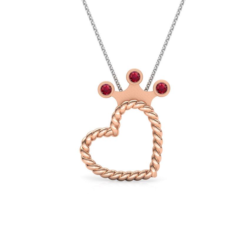 Gold Pendants 14 Karat Rose Gold Queen of My Heart Gemstone Pendant