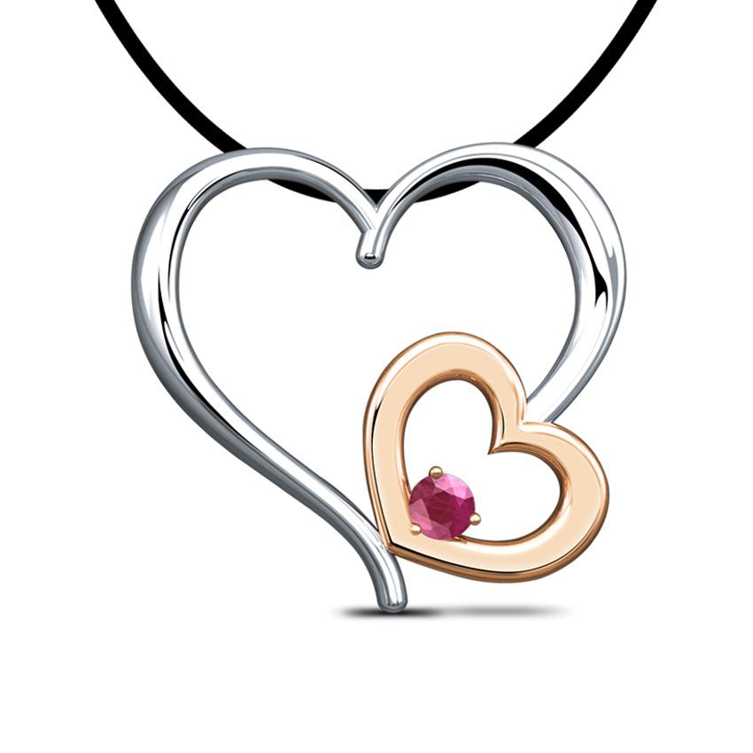 Duo Heart Ruby Pendant