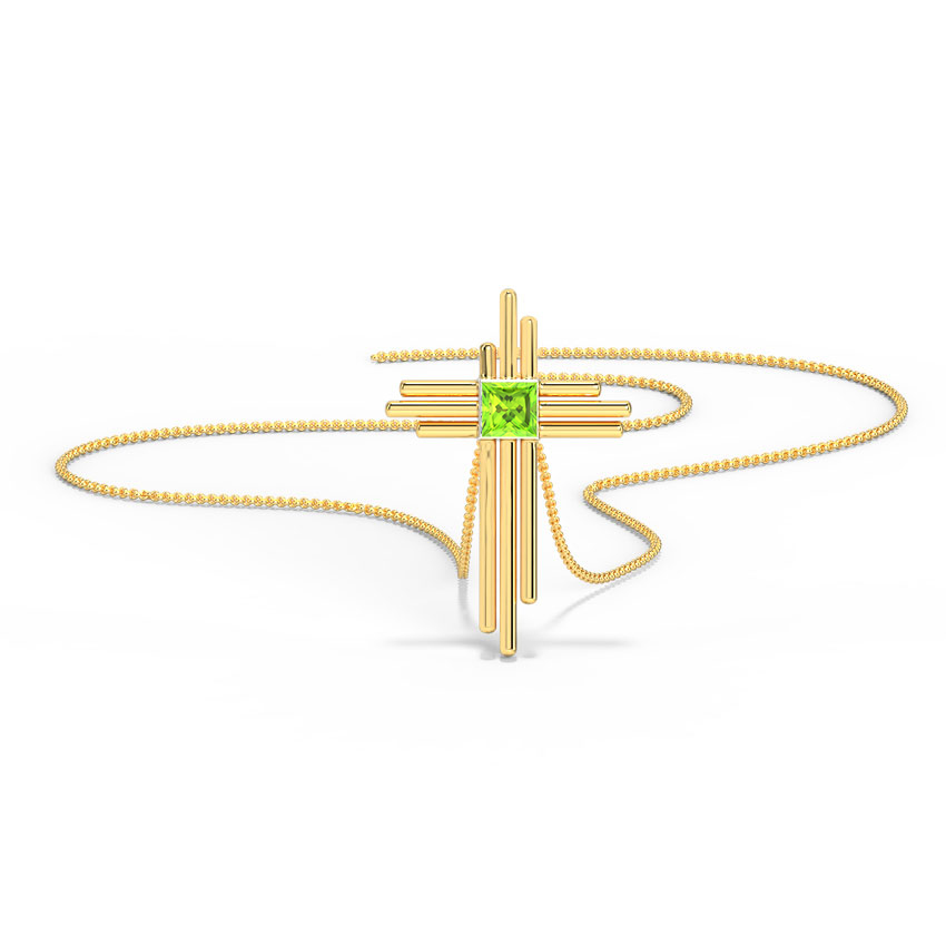 Deco Peridot Cross Pendant
