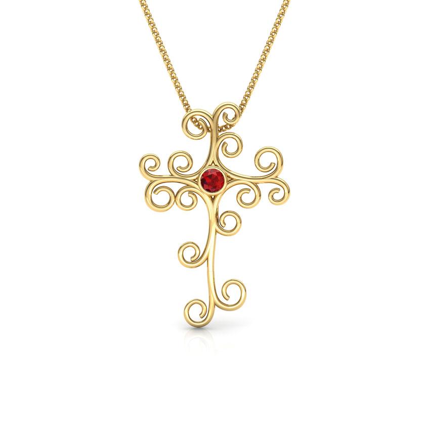 Curlicue Garnet Cross Pendant