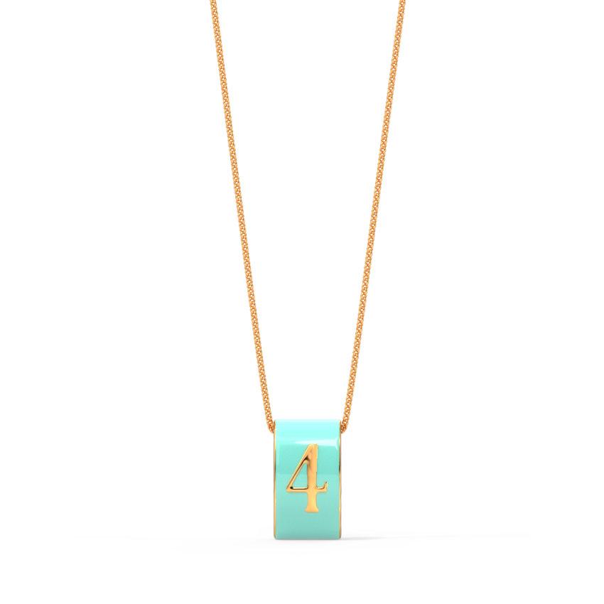 Gold Pendants 14 Karat Rose Gold Number 4 Vibrant Gold Pendant