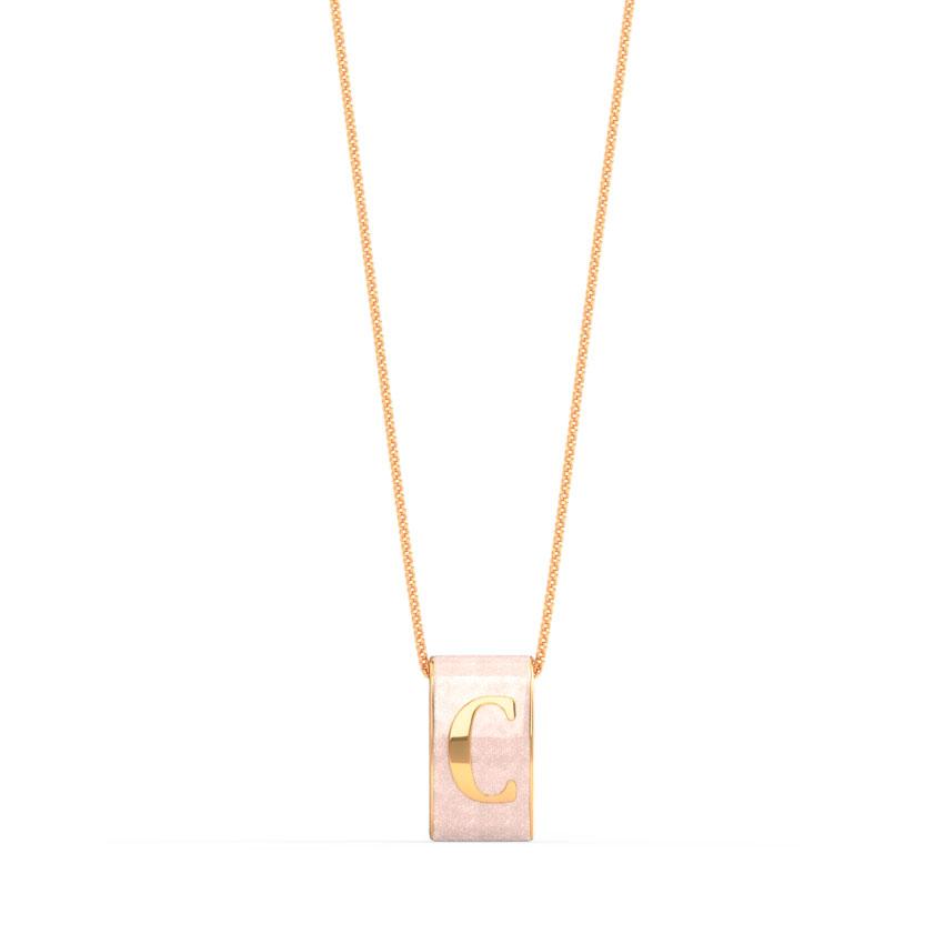 Gold Pendants 14 Karat Rose Gold Alphabet C Vibrant Gold Pendant