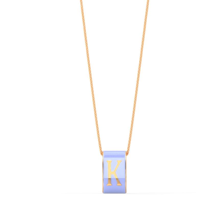 Gold Pendants 14 Karat Rose Gold Alphabet K Vibrant Gold Pendant